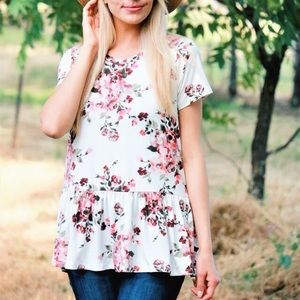 ⭐️Floral Blossom Peplum Top In Ivory⭐️
